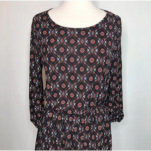 French Grey Stitch Fix Floral A-line Dress Black